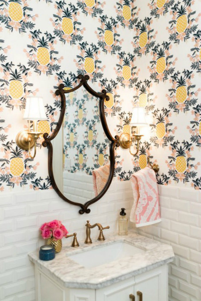 powder bath, rifle wallpaper, subway tile, fancy ashley
