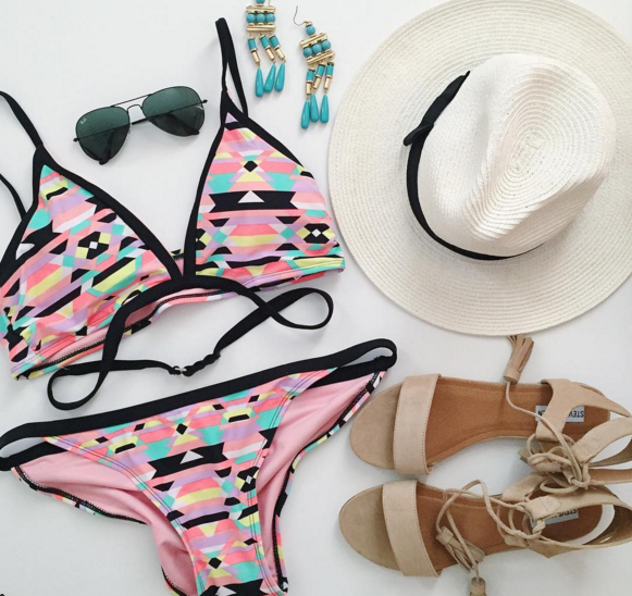 target swimsuit, steve madden sandals, straw fedora hat
