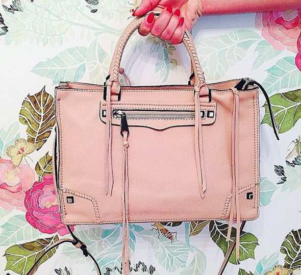 rebecca minkoff, regan satchel, spring bag, floral wallpaper