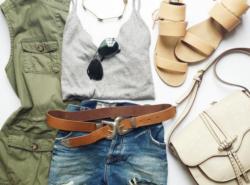 ootd, flat lay, fashion blogger, rebecca minkoff sandal, saddle bag