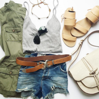 ootd, flat lay, fashion blogger, rebecca minkoff sandal, saddle bag