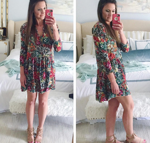 hinge dress, floral dress, nordstrom, spring dress