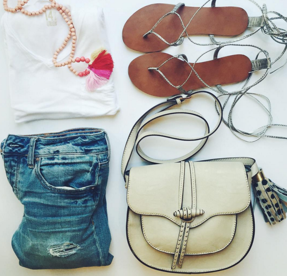boyfriend denim, saddle bag, gladiator sandal