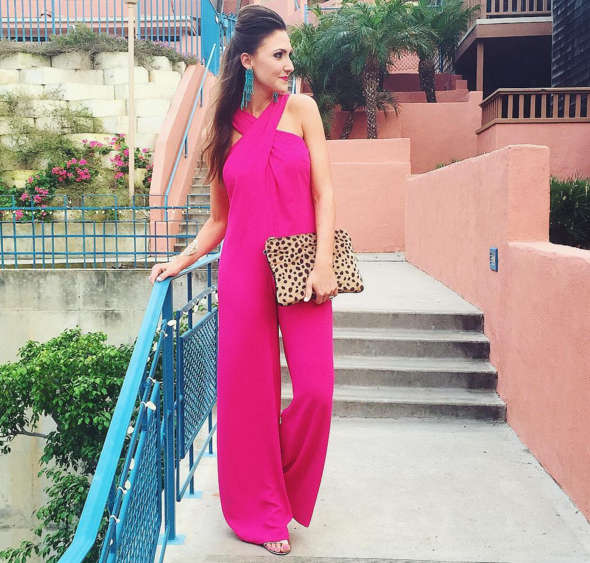 fashion blogger, jumpsuit, trina turk, rent the runway