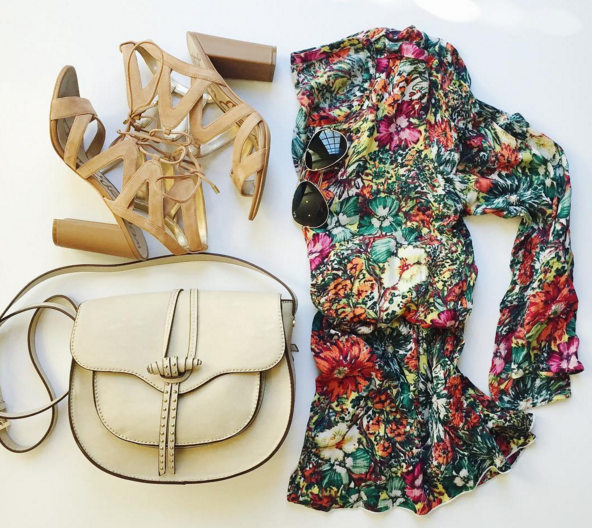 flat lay, floral dress, saddle bag, sam edelman, flat lay