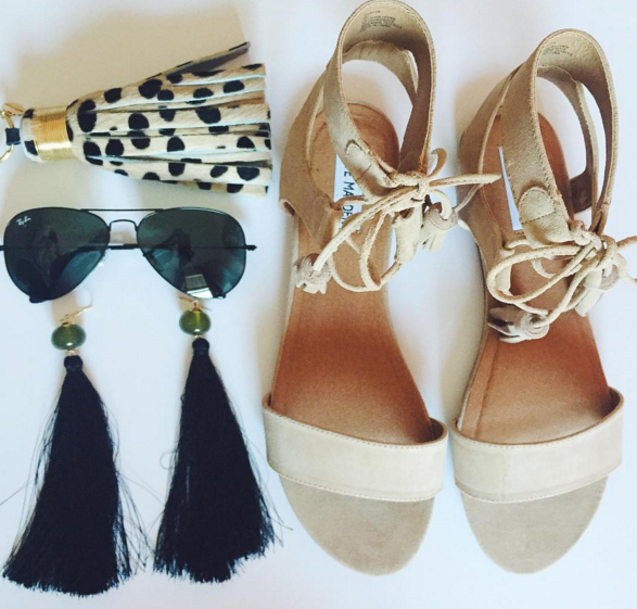 steve madden, tassel earrings, ray ban