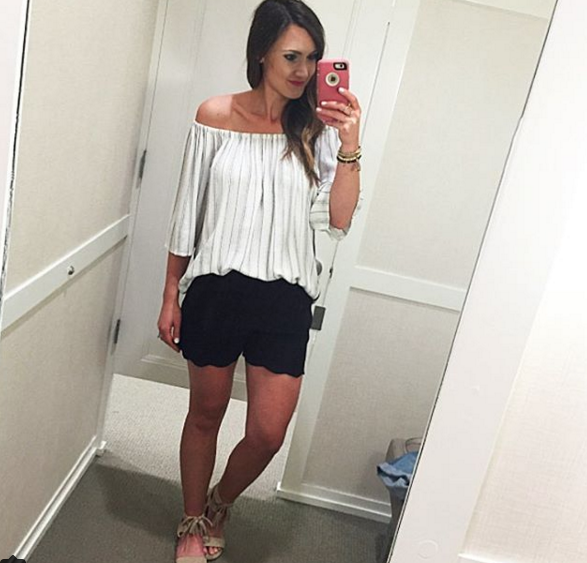 A cute and comfortable off the shoulder top from Loft.
