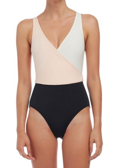 This color block one piece suit is so chic and flattering!