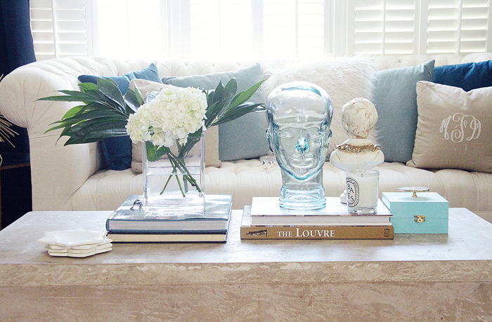 coffee table, vignette, home tour