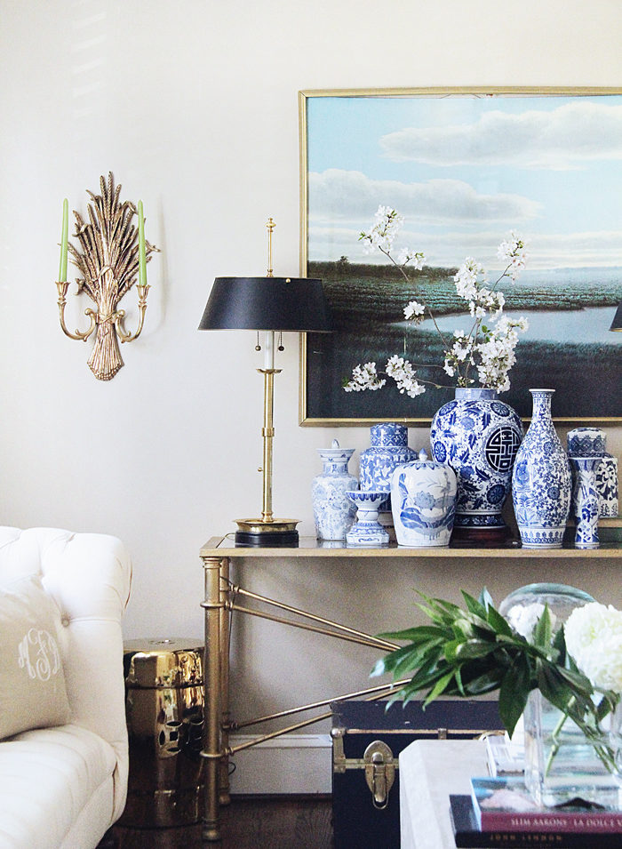 ginger jars, spring home tour, oil painting