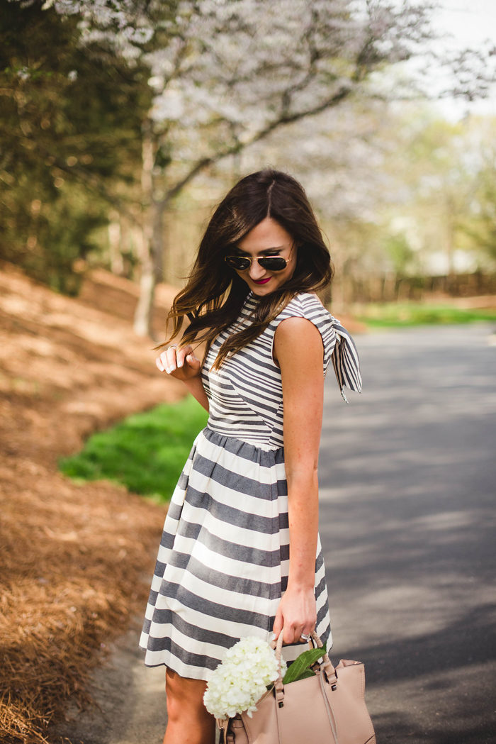 donna morgan dress, stripe dress, sam edelman heels, rebecca minkoff reagan