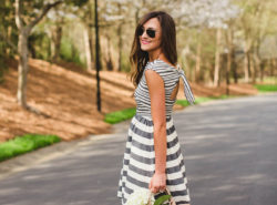 donna morgan dress, stripe dress, sam edelman heels, rebecca minkoff reagan