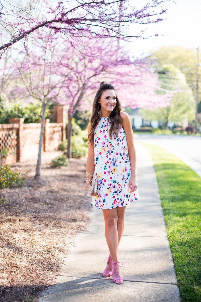 cece cynthia steffe, floral dress, sam edelman azalea heels, style your senses