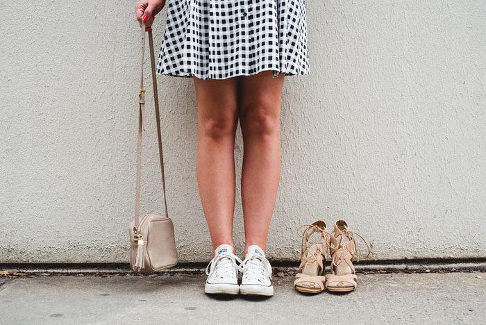 CECE Cynthia Steffe Dress, Gingham Dress, Blogger, Converse, Sam Edelman heels