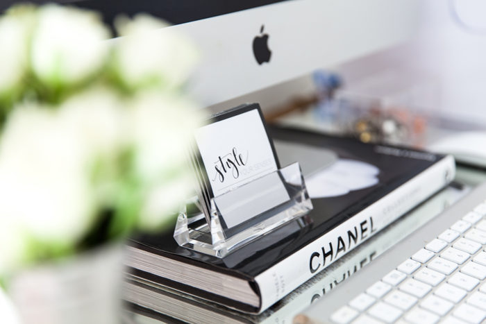 glam office, home office, bamboo desk, blogger office, style your senses, chanel book