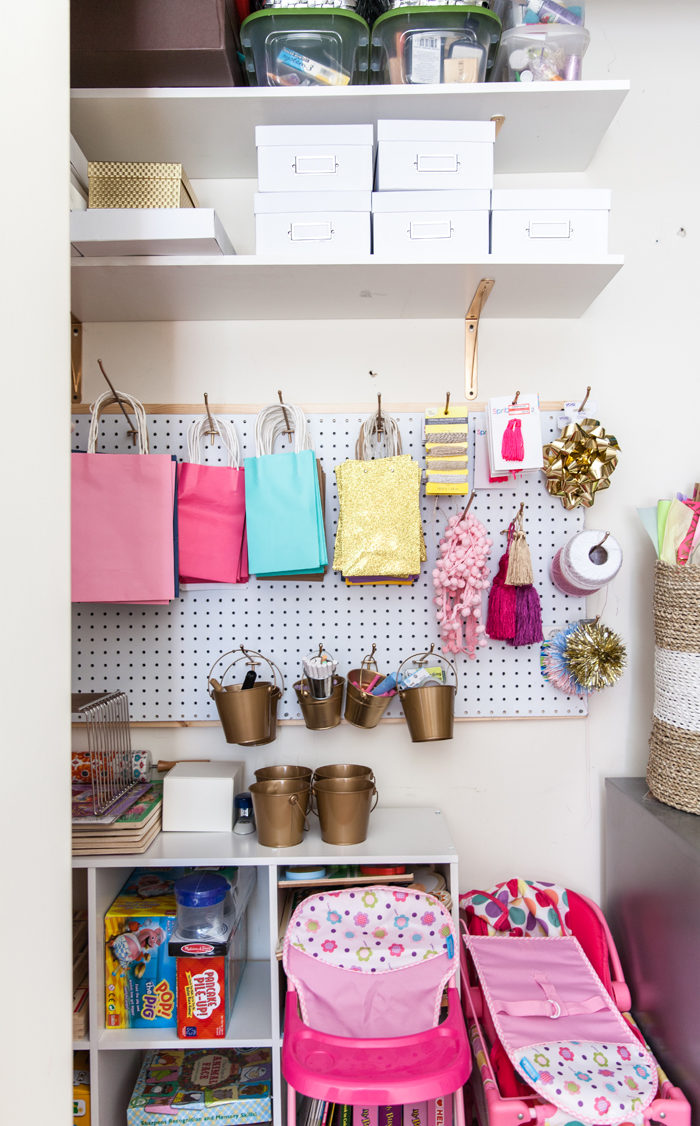 craft closet, wrapping station, organization, container store - Home Office and Playroom Combination featured by popular Texas lifestyle blogger, Style Your Senses