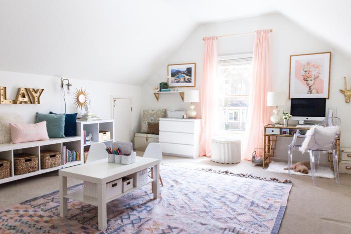 office, playroom, creative space, kilim rug, organization, glam, boho