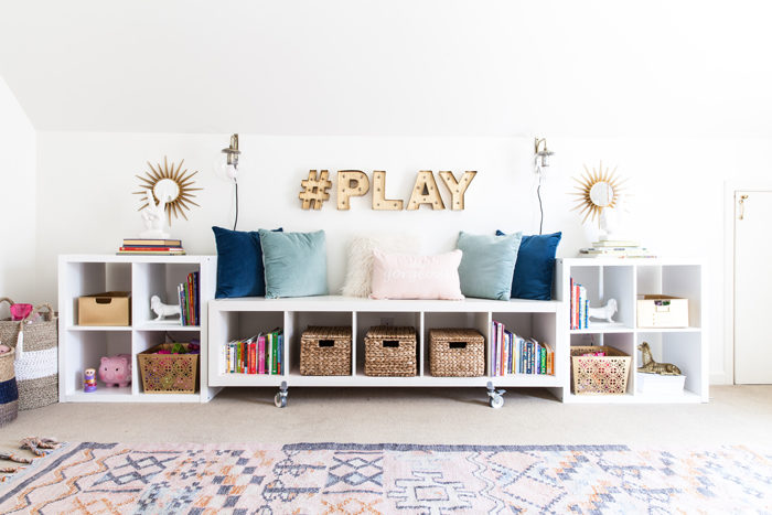 playroom, kids space, stylish playroom, media room, organization, storage - Chic Home Office and Playroom Combination featured by popular Texas lifestyle blogger, Style Your Senses