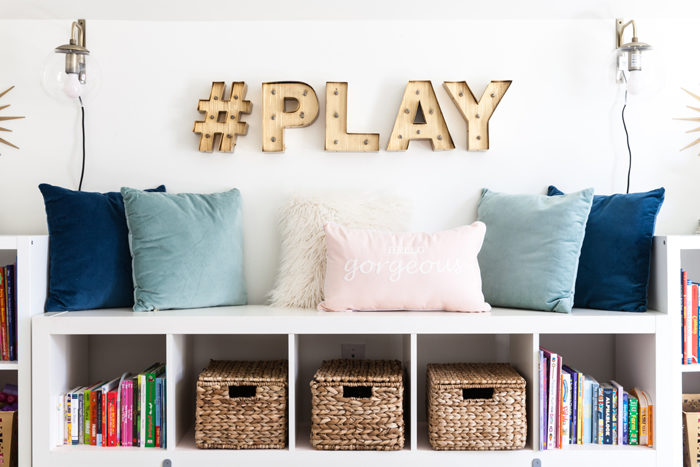 playroom, kids space, stylish playroom, media room, blogger, marquee letters - Chic Home Office and Playroom Combination featured by popular Texas lifestyle blogger, Style Your Senses