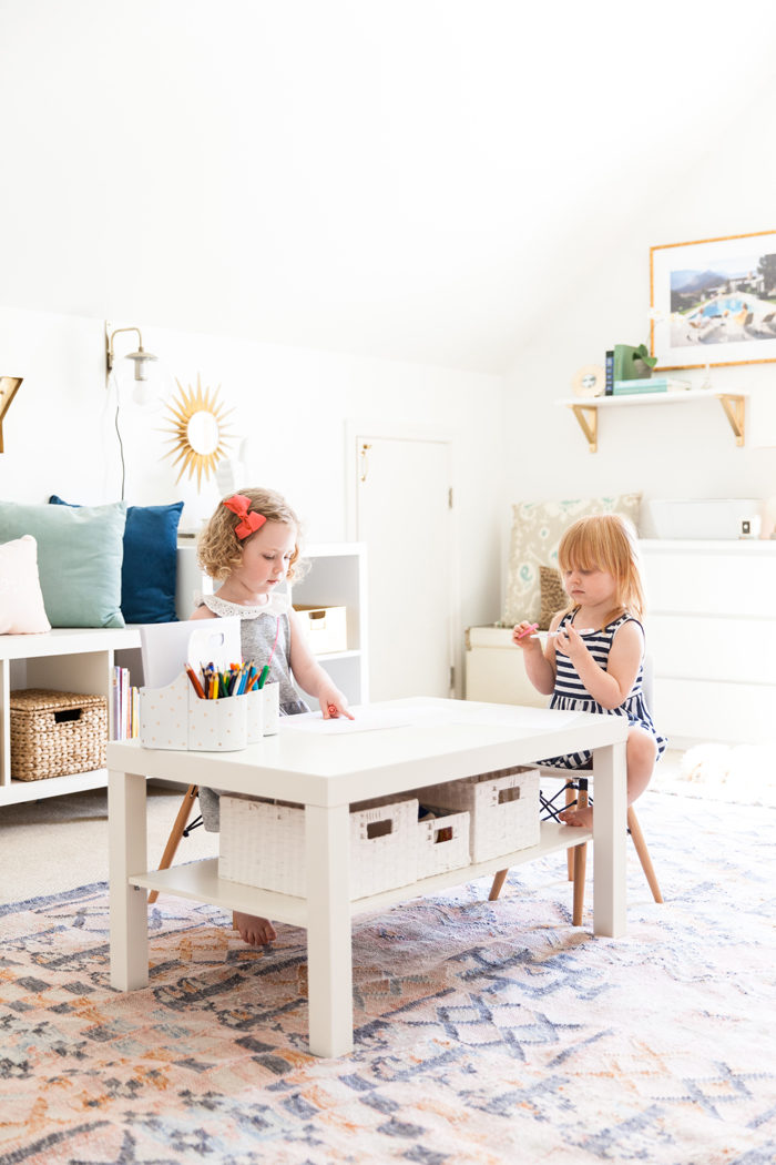 playroom, kids space, stylish playroom, media room, organization, storage, play table - Home Office and Playroom Combination featured by popular Texas lifestyle blogger, Style Your Senses