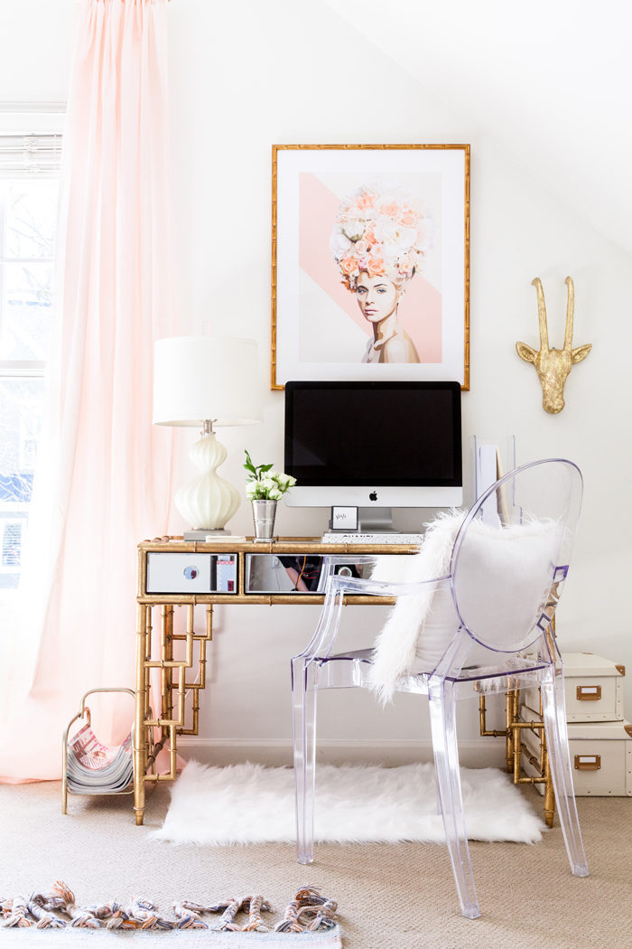 glam office, home office, bamboo desk, blogger office, style your senses - Chic Home Office and Playroom Combination featured by popular Texas lifestyle blogger, Style Your Senses