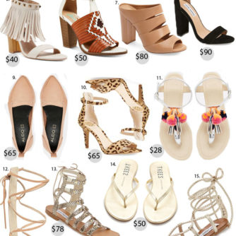 Spring shoes, Under $100, gladiator sandals, lace up heels, block heels, mules, shoe trends