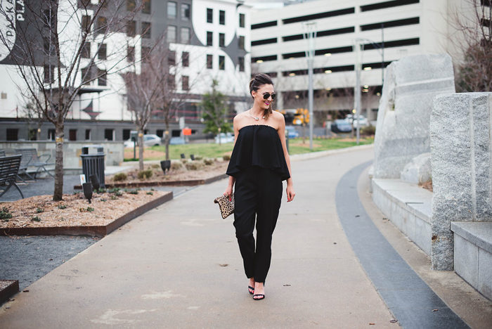 black jumpsuit, wayf, spring wedding, leopard clutch
