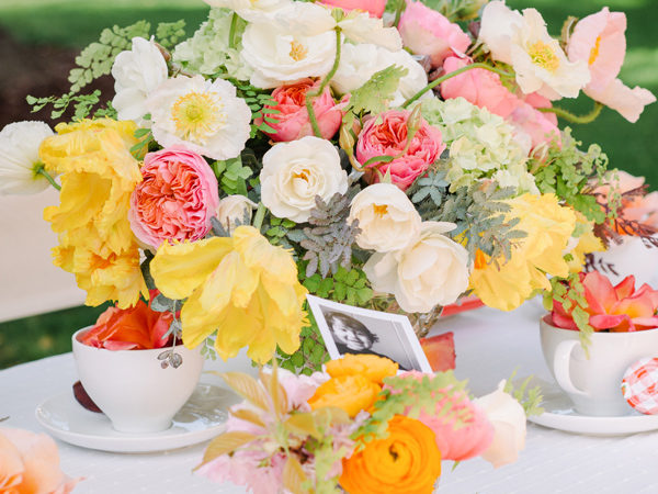 A beautiful Mother's Day Tea party tablescape.