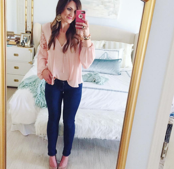This lacy pink top is great for Spring and the $20 price is a no brainer.