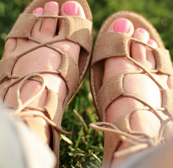 These lace up sandals are comfortable and cute.