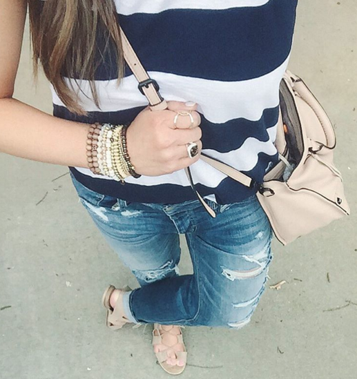 A casual outfit with my favorite striped tank and distressed denim.
