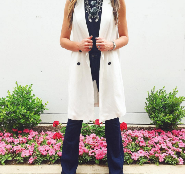 Pair a chic trench vest with flare denim for an easy day to night outfit.