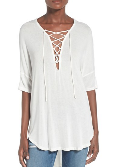 This lace up tunic top is chic and on trend for spring!