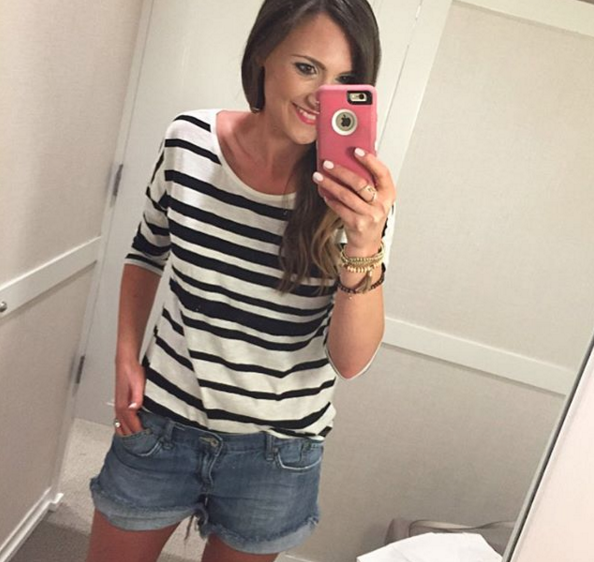 This casual striped top is perfect to pair with distressed denim shorts.