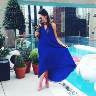 This royal blue maxi dress is perfect for a summer pool party!