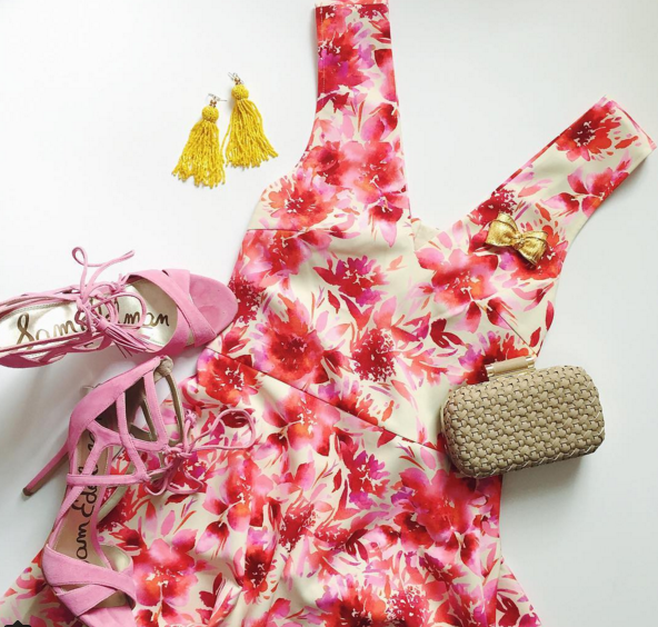 Pair this pink floral dress with a suede heel and you have the perfect summer wedding look.
