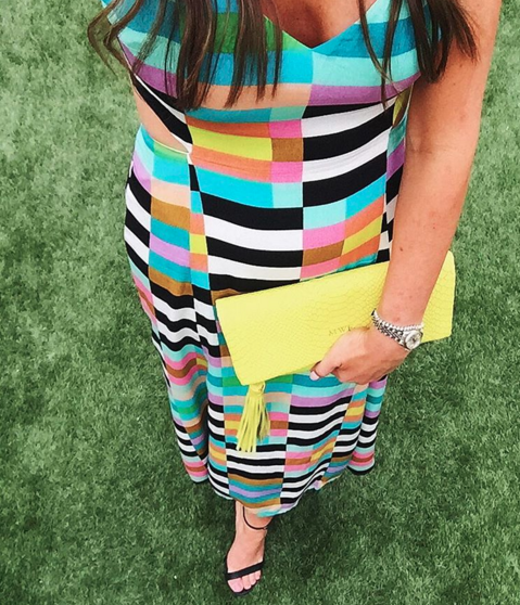 This mara hoffman dress is rich in color and pattern and great for summer.