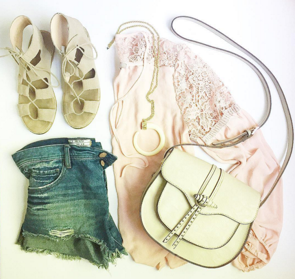 Loving this blush lace top dressed down with gladiator sandals and denim shorts.