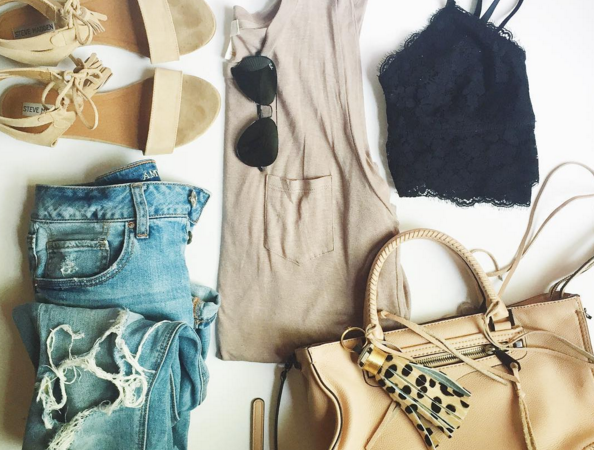 Muscle tank with lace bralette and distressed denim