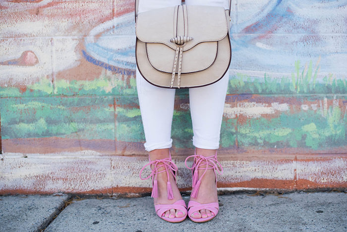 Saddle bags and statement heels are two of the hottest trends for Spring!