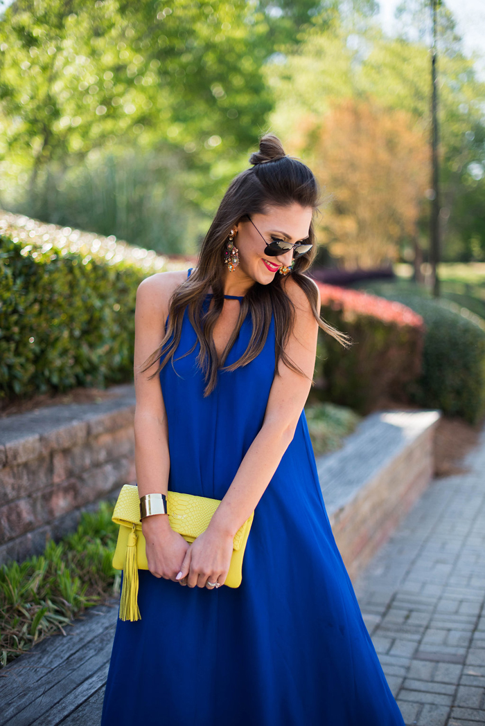 This cobalt blue swing dress is flattering and affordable and perfect for summer temps.