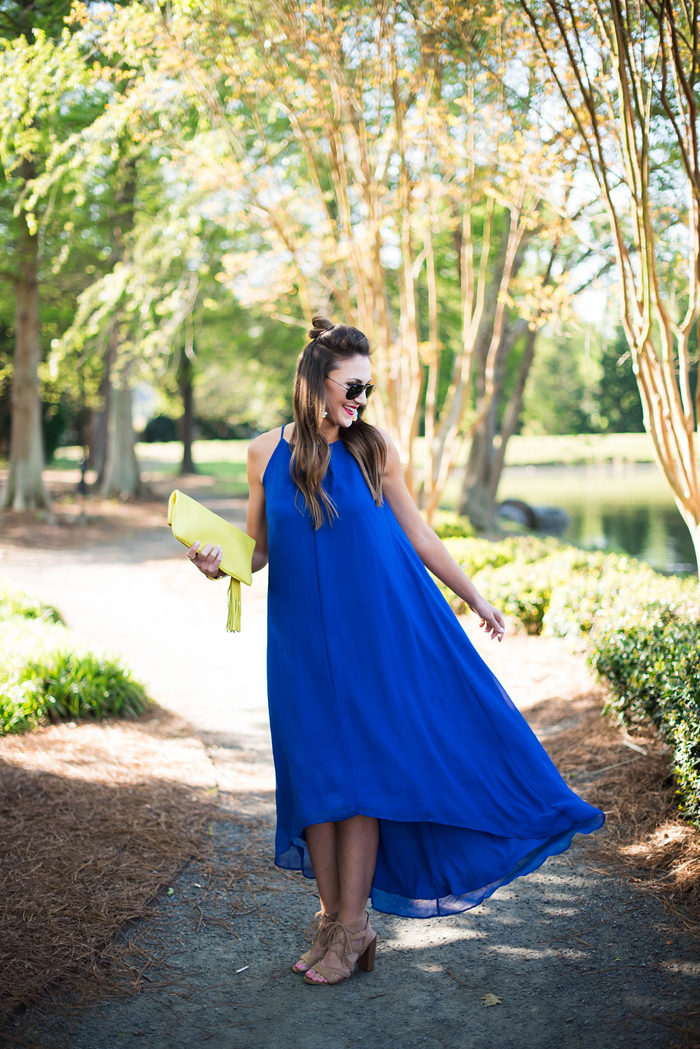 This cobalt blue swing dress is great for summer weddings.