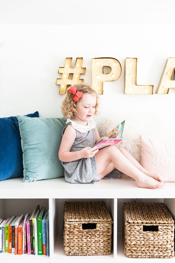 Chic playroom with gold marquee letters - Home Office and Playroom Combination featured by popular Texas lifestyle blogger, Style Your Senses