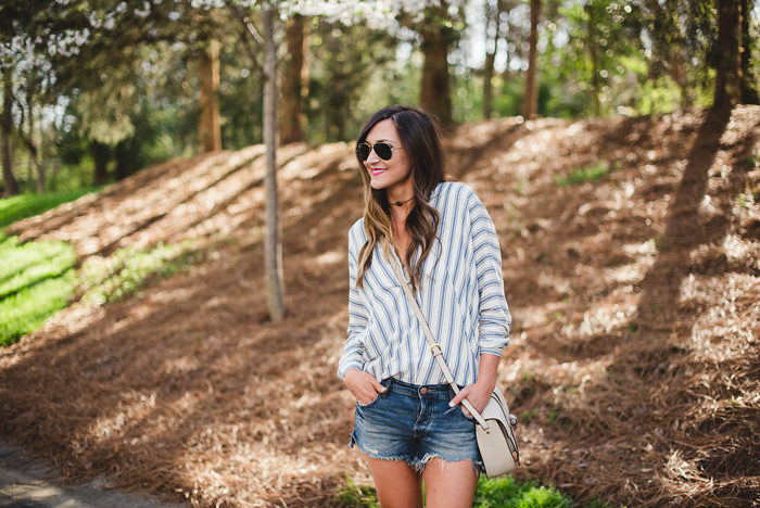 striped tunic distressed shorts 1
