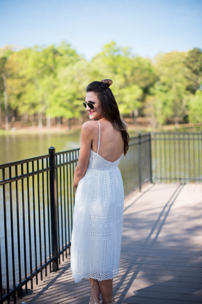 White Lace party dress with low cut back detail