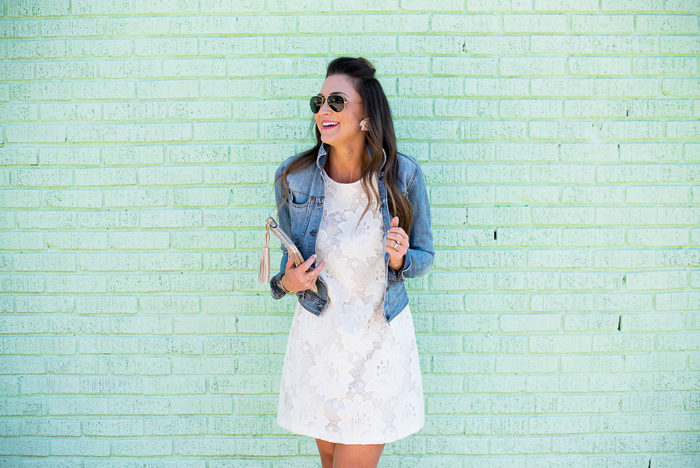 This white lace shift dress is perfect dressed up or down for Spring.