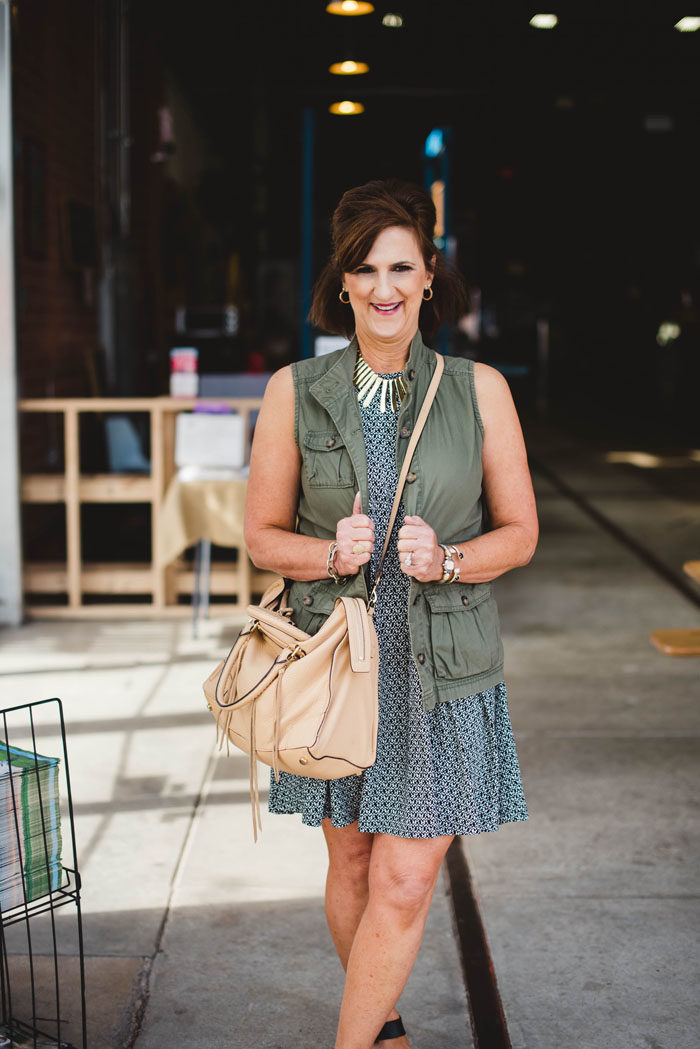 fashion over 50 in this darling old navy dress and military vest