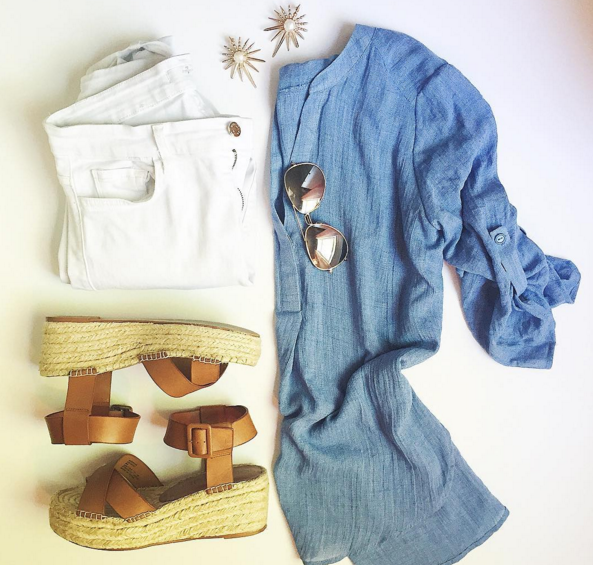 Chambray tunic and white denim are summer staples
