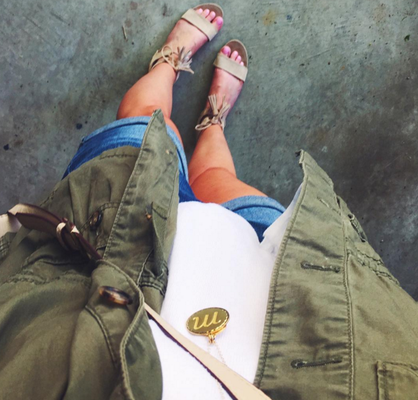 My weekend casual look with denim shorts, a swing tank and my go-to military vest