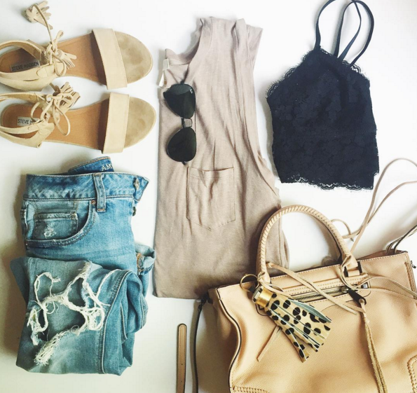 Casual #ootd with a drop arm tank and lace bralette